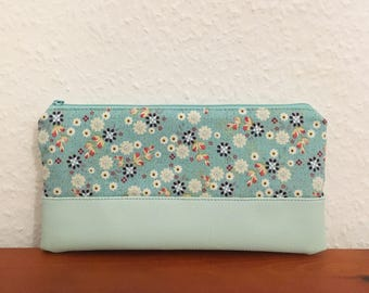 Cosmetic bag, make-up bag, purse Asian floral, mint with synthetic leather