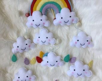 Rainbow mobile, Rainbows and rain clouds, Handmade clouds and raindrops, Nursery Decor