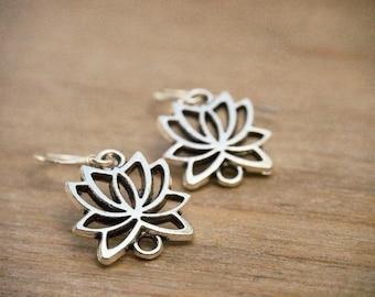 Lotus Earrings, Lotus Flower Earrings, Yoga Jewelry, Silver Flower Earrings, Bridesmaid Gift, Everyday Minimalist Earrings, Nature Jewelry