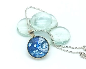 Painted Glass Cabachon Pendant Necklace Blue and White Bubbles Wearable Art Layering Necklace 2018 Trend Nautical Water