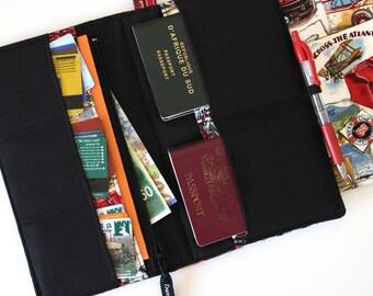 Family Passport Holder - Family Travel Wallet - Fabric Passport Wallet - Travel Document Holder - Passport Cover -  Large Passport case