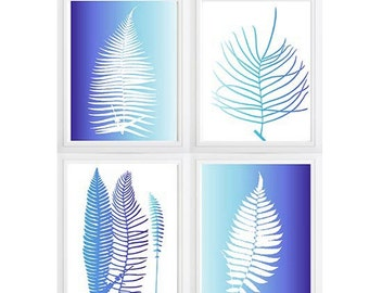 Ombre Navy Turquoise Botanical Leaves Foliage Tree wall art- Set of 4 Choose size! Modern gallery prints-Made in USA  botanical prints