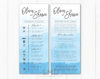 watercolor destination wedding itinerary, timeline, ombre watercolor, beach wedding, guest timeline, welcome kit, card, PRINTABLE or PRINTED