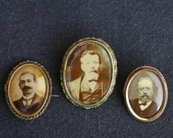 The Gentlemans Club. Antique mens portrait photography brooches trio