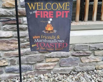 Fire pit flag* Friends & Marshmallows get toasted