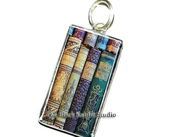 Shabby Books Pendants, book earrings, library pendants, teacher's gift, Hypoallergenic pendants
