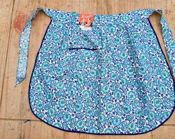 Vintage 1940s-1950s  Blue Floral Apron with Tags