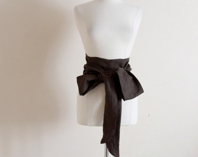 made to order solid color eco linen slim obi / slim linen obi sash / minimalist obi /
