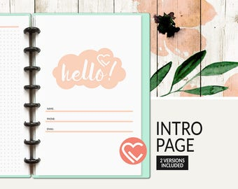 Intro Pages   2 Versions   3 Sizes   Digital Planner Page   Instant Download Printable PDF   Title, Intro, Cover