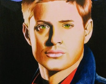Dean Winchester PRINT, Supernatural, Jensen Ackles, Television Series, Girl's Gift, Pencil Drawing, Wall Art, Fan Art, Home Decor