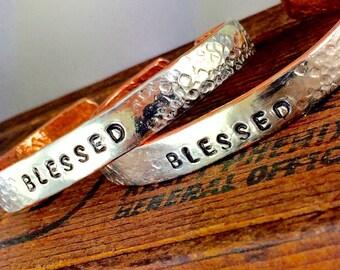 BLESSED Cuff Bracelet, Inspirational Jewelry, Silver Cuff Bracelet, Silver Word Bracelet, Kyleemae Designs, Copper Jewelry