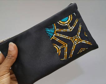 Black leather zipper pouch, Leather pouch, Leather clutch, African zipper pouch, Leather bag, African pouch, Zipper pouch, Leather purse,