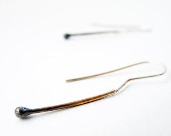 Ombre Silver Earrings Matchstick Earrings Playful Earrings Burnt Matches Earrings Minimalist Earrings