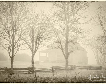 Cabin in Fog (SEPIA) E244. Pioneer, Settler, Cabin, Cades Cove, Smoky Mountains, National Park, Tennessee, Historic Building, Fence, Fog