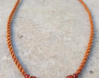 Ocre  Macrame Necklace With Carnelian and Brass beads- Adjustable length