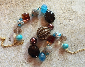 Brown and Blue Beaded Necklace, Beadwork Necklace, Statement Necklace, Beaded Jewelry, Beadwork Jewelry, Statement Jewelry, Gift For Her