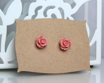 Dusky Pink Rose Earrings // kawaii earrings // cute unique earrings //