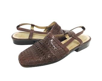 Huaraches Men Women VTG Woven Leather Sandals  / Vintage 90s Glacee Shoes Women 9 / AU7.5 UK6.5 / Mens 7.5 EU 40 Open Heel Mule Slides Boho