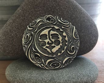 Sterling silver hand carved sun and moon face celestial necklace // sun charm // moon pendant // sun and moon necklace // sterling silver