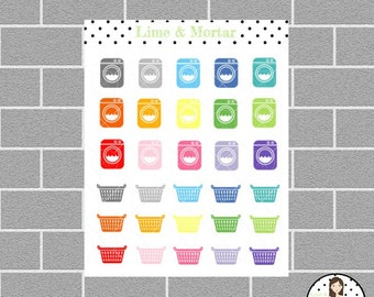 Laundry Washing Mini Icon Planner Stickers
