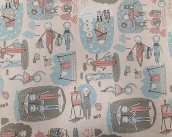 Fabric cotton beige grey blue red people lifestyle cartoon Cotton Fabric Kids Fabric Scandinavian Design Scandinavian Textile