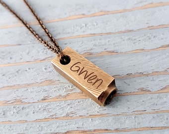 Custom Engraved Brass Letterpress Initial Necklace - Solid Brass Letterpress Pendant Necklace - Personalized - All Letters Available
