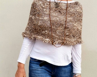 Knit capelet, women poncho, brown knit wrap, casual chic style, hand made cape, hand knit capelet, spring knitwear
