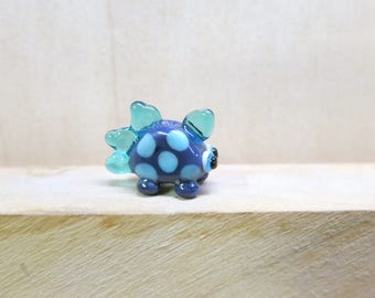 Dinobeadie for Diabetes - purple blue teal lampwork glass dinosaur bead