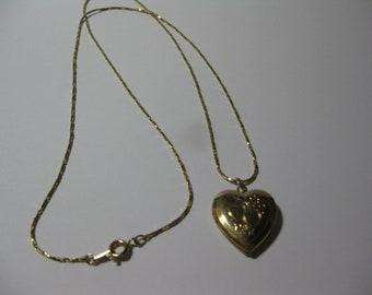 Gold-Tone Heart Locket Necklace