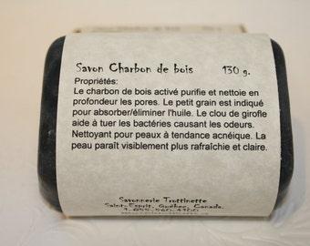 Savon au Charbon de bois, produit naturel, savonnette, savon artisanal, fait à la main, savon pour homme, Savonnerie Trottinette, Savon