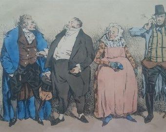 Antique French Theatre Du Vaudeville Lithograph Print 1831  in Antique Wooden Frame