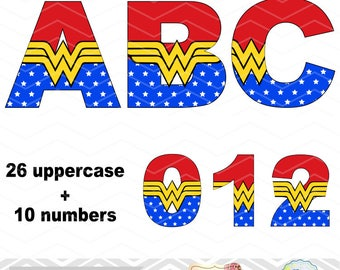 Instant Download Wonder Woman Alphabet Digital Clip Art, Wonder Woman Alphabet Clipart, Wonder Woman Number, Superhero Alpha Clipart  0112