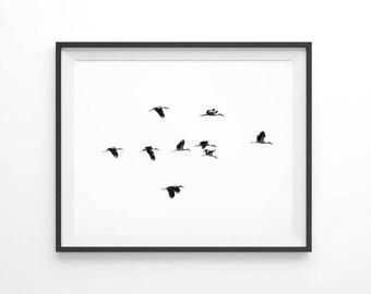 Birds flying, flock of birds, sea prints, minimalist nature art, scandinavian art, scandinavian prints, minimalist wall art, ocean art