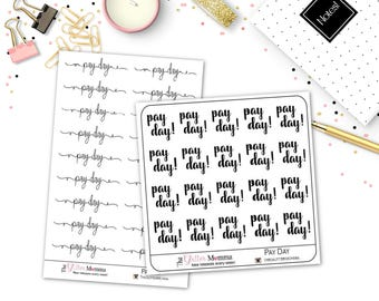 Pay Day | Words | Functional Stickers | Erin Condren Life Planner Vertical
