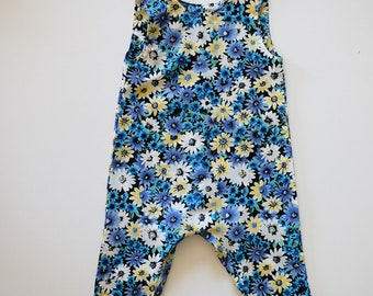Harper Romper - Handmade vintage style baby and toddler romper. blue and yellow flowers. Made from vintage upcycled fabrics.