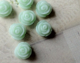 11 mm Peppermint Green Rose Resin Flower Cabochons (.tc)