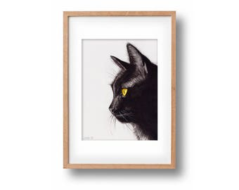 "Original Watercolor Painting ""I'm a Panther""-handpainted-unique work of art-black cat-optional framed"