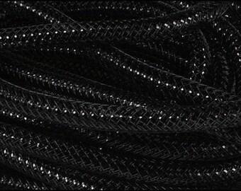 8mm Black Black Metallic Flexible Tubing, Poly Mesh Supplies (20 Yards)