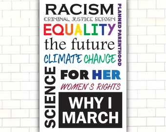 Womens March PRINTABLE Protest Sign // Why I March