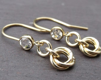 Gold Filled White Topaz Earrings