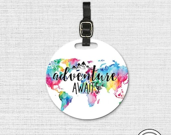 Adventure Awaits Watercolor map Round Luggage Tag, Single tag with Strap 3.5 Inch Round Custom Text on Back