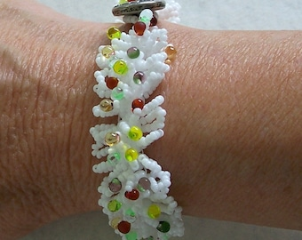 White Beaded Fringe Bracelet with Multicolor Transparent Drops by Carol Wilson of Je t'adorn