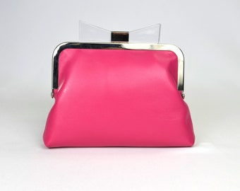 Pink leather purse clutch with perspex bow clasp / chain strap / retro purse / pink leather / pink leather bag / daraford