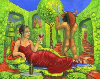 SALE! - 'Mrs Minotaur II' - signed fairytale art print