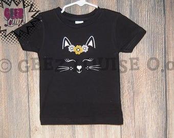 Kitty Cat Birthday Shirt Customized meow sleeping kat brown tan black wild