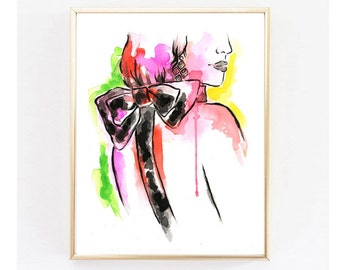 All Dressed up Print, Perfume Art, Vanity Print, Fashion Print,Home Decor, Watercolor Fashion Illustration, Wall Art,