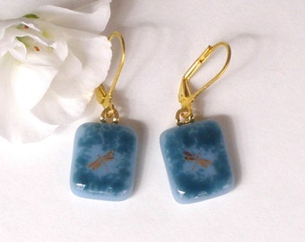 Gold Dragonfly Fused Glass Earrings - Smokey Light and Dark Blue
