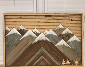 Reclaimed Wood Art, 11.5 Snowy Peak Mountains w/ Trees
