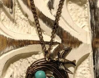 Bronze Wirw Wrapped Bird Nest With Turqouise Beads/Bird Charm