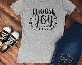 Christian t-shirt, Choose Joy tshirt,  inspirational t-shirt, faith based apparel, faith tshirt, womens jesus shirt